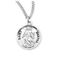 "Patron Saint Martha Round Sterling Silver Medal18"" Genuine rhodium plated fine curb chain"