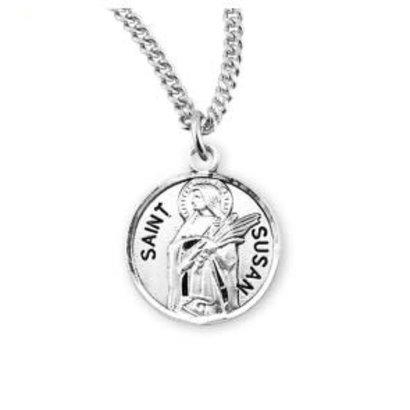 "Patron Saint Susan Round Sterling Silver Medal, 18"" Genuine rhodium plated fine curb chain."