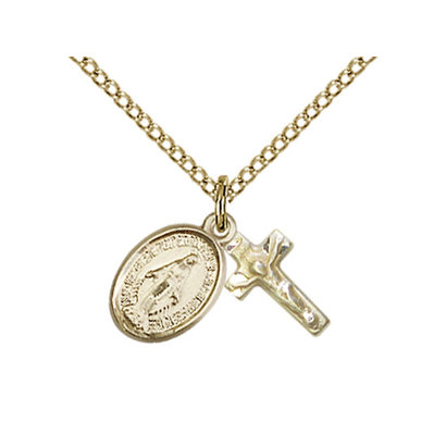 Miraculous Medal  and Crucifix  Pendant , 14KT Gold Filled, with Chain 18""