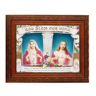 "House Blessing Sacred Heart of Jesus & Immaculate Heart of Mary , Antique Mahogany Art Frame 10.25"" x 12"""