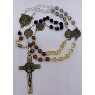 Brown Glass Bead St.  Benedict Rosary