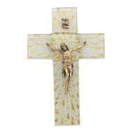 """Gold & Silver Rays On White Glass 7"""" Cross With Gold Corpus."""