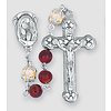 Garnet Swirl Glass, Capped Imitation Pearl Pater 6MM Beads and Silver Oxidized Center and Crucifix. 18""