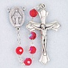 """20"""" July-Ruby Deluxe Birthstone Rosary, 6mm Tin Cut Aurora Borealis Glass Beads"""