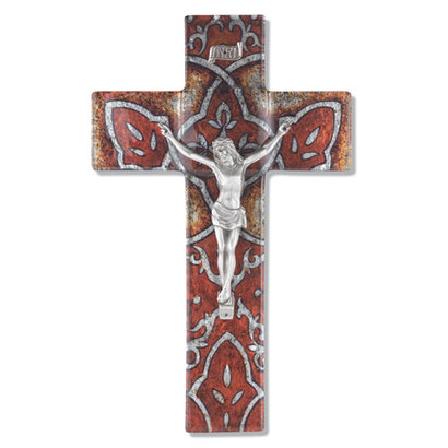 """Burnt Orange 10"""" Glass Cross with Class Cathedral Glass Pattern and Pewter Corpus"""