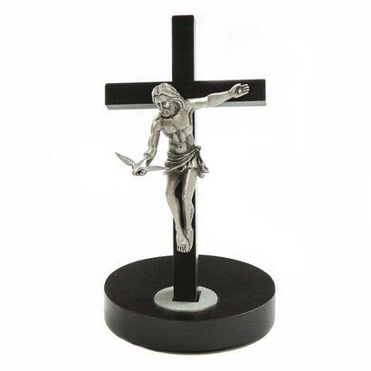 "8"" Black Painted Walnut Crucifix"