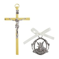 Crucifix with Guardian Angel Crib Medal Set