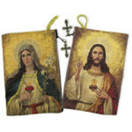 Sacred Hearts of Jesus and Mary Rosary Icon Pouch