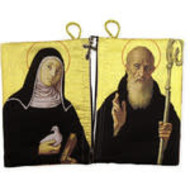 St Benedict and St Scholastica Rosary Icon Pouch