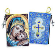 Sweet Kissing Madonna & Child  Rosary Icon Pouch