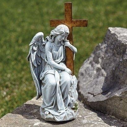 "Angel with Cross Outdoor Statue, 13"""