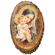 "Madonna & Child Wood Plaque, 12.25"""