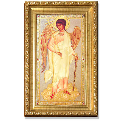 """A67 Guardian Angel Gold Frame Crystals & Glass 6 3/4"""" x 11.5"""""""