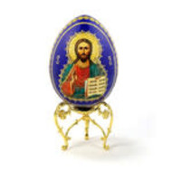 """Christ The Teacher Cobalt Blue Wooden Russian Icon Egg With Gold Stand 5 1/2"""""""