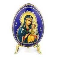 """Virgin Mary Eternal Bloom, Blue Wooden Russian Icon Egg With Gold Stand 5 1/2"""""""
