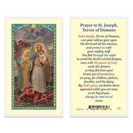 St. Joseph Terror of Demons - Laminated Prayer Card