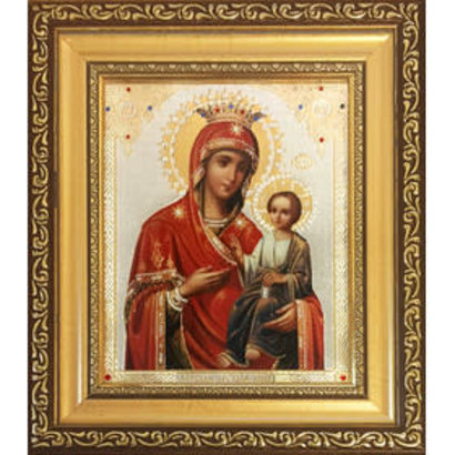 """Virgin Of Iverskay Framed Icon with Crystals and Glass 8 1/4""""x7 1/4"""""""