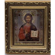 """Christ The Teacher Gold Framed Icon With Glass & Crystals 6 1/4""""x5 1/2"""""""