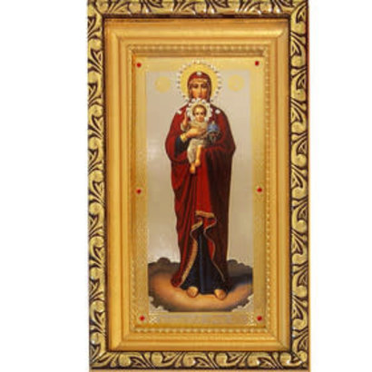 """Virgin of Valaam Madonna and Child Russian Wooden Gold Framed Icon With Glass & Crystals 6 1/2""""x4"""""""