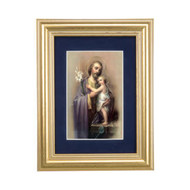 St. Joseph Gold Framed Art | Blue Velvet Matting