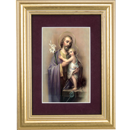 St. Joseph Gold Framed Art | Maroon Velvet Matting