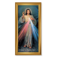 """GOLD CRACKLE FRAME WITH DIVINE MERCY PRINT 15.5"""" x 29"""""""