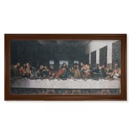 "Walnut Framed Last Supper,  24"" x 44"""