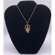 Our Lady of Grace die cut halo with rhinestones Gold Plate Necklace