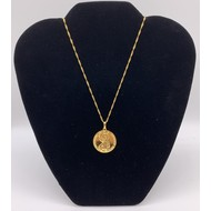 St. Christopher Round Gold Plated Necklace with Prayer on Back