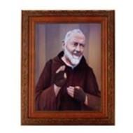 "St. Padre Pio, Antique Mahogany Frame 10 1/4"" x 12"""