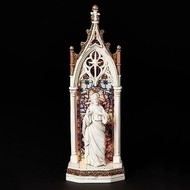 """LED Sacred Heart of Jesus Arched Stained Glass Window Cathedral Statue 11.75""""H"""