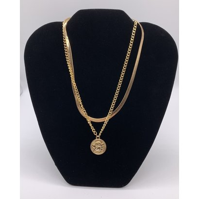 Angel Pendant on Stainless Steel  Gold Plated Double Stranded  Snake Chain