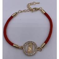 Elegant Guadalupe Bracelet With Gold Findings & Rhinestones, On Delicate Red Wristlet