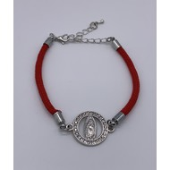 Elegant Guadalupe Bracelet with Silver Findings & Rhinestones on Delicate Red Wristlet