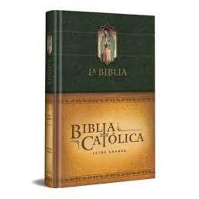 Biblia Catolica Letra Grande, con Virgen de Guadalupe en cubierta.