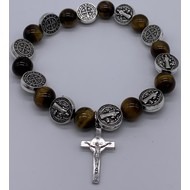 St Benedict Stretch Bracelet in Tiger Eye and Silver