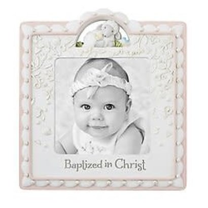 """Baptized in Christ Photo Frame, Pink 4"""" x 4"""""""