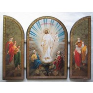 RESURRECTION OF CHRIST TRIPTYCH ICON WITH THE FATHERS LOOKING TO CHRIST