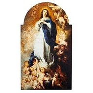 "Murillo Immaculate Conception Arched Plaque,  7"" W x 12"" H"