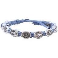 Miraculous Medal Macramé Blue Wrapped  Slip Knot Bracelet