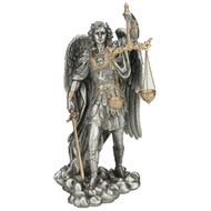 """St.Michael-Scales/Justice Pewter Style Finish Golden Highlights 11"""""""