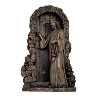 Christ Knocking Lightly Hand-Painted Cold Cast Bronze 9.5""