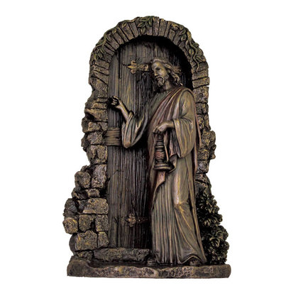 """Christ Knocking Lightly Hand-Painted Cold Cast Bronze 9.5"""""""