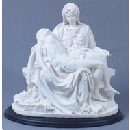 Pieta White with Black Wood Base 10.75""