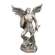 """St. Michael Pewter Style w/Gold Trim 10"""" Statue"""