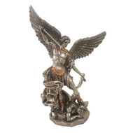 """St. Michael, Pewter Style Finish, Golden Highlights, 8"""""""