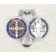 Saint Benedict - Guardian Angel - Enameled Visor Clip