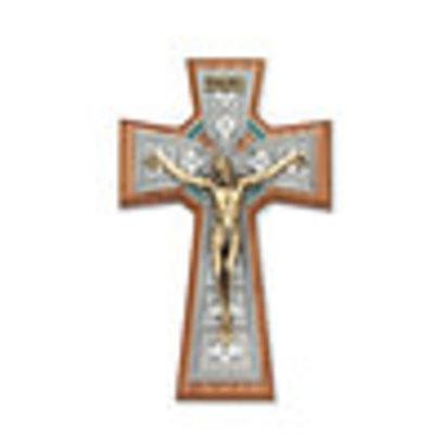 "Walnut Celtic Crucifix Tutone,  8"""