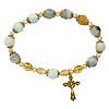 Amazonite Antique Gold Rosary Bracelet