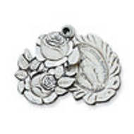 Sterling Silver Miraculous Medal Sliding Rosebuds